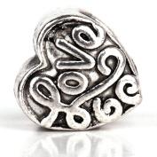 RUBYCA 50pcs Tibetan Silver Colour Spacer Heart Metal Beads fit European Charm Bracelet DIY Jewellery