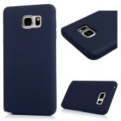 Note 5 Case,Samsung Galaxy Note 5 Case - Candy Colour Shock-absorption Soft TPU Slim Protective Bumper Oleophobic Coating Anti-slip Comfortable Touch Rubber Skin Gel Case Cover by Badalink - Dark Blue