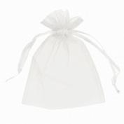 100 pcs Sheer Organza Drawstring Pouches Gift Bags White Colour 7.6cm x 10cm