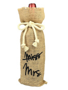 Vintage Wedding Gifts, From Miss To Mrs Bridal Shower Decoration, Burlap Wine Bottle Gift Bag with Painting