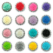 JLIKA Rhinestone Embellishments Resin Rose (10 Pieces) Flatback No Shank Rhinestone Buttons