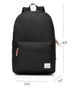 Vaschy School Backpack Unisex Classic Lightweight Tear Resistant Rucksack Travel Backpack Fits 38cm Laptop Black