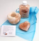 Himalayan Salt Cart Himalayan Salt Spa Package of 0.5kg Himalayan Pink Bath Salts, Himalayan Salt Heart-shaped Purifying/Massage Stone and Himalayan Salt Candle Holder in a Decorator Bag