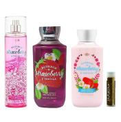Bath & Body Works Bourbon Strawberry & Vanilla Fine Fragrance Mist 8 fl.oz/236 mL, Body Lotion 8 fl.oz/236 mL & Shower Gel 10 fl.oz/295 mL with a Jarosa Bee Organic Chocolate Bliss Lip Balm
