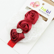 Ingdy(TM) 2016 New Elastic Headband Rose Flower Crystal Baby Girl Hair Accessories Children Hair Bow Ribbon Elastic Infant Kids Hairband
