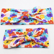 Ingdy(TM) 2 PCS Hair Accessories Mother and Baby Girl Bandana Print Flower Bow Knot Elasticity Headband Children Fashion Hair Band