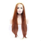 Silk Long Straight Caramel Colour Synthetic Lace Front Wig Heat Resistant Fibre Women Wig