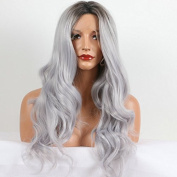 Brazilian Silver/Grey Ombre wig with WowAfrican 2Tone Synthetic Lace Front Wig for women heat resistant fibre