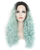 Kalyss Long Curly Weave Black Roots Gradient Black to Mint Green Synthetic Hair Lace Front Wig 60cm