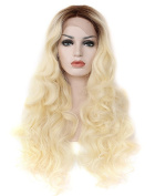 Kalyss Long Curly Brown Roots Gradient Golden Blonde Ombre Synthetic Lace Front Wig 60cm