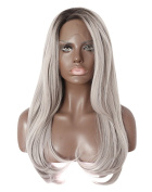 Kalyss Long Straight Short Black Roots Silver Grey Ombre Synthetic Hair Lace Front Wigs 60cm