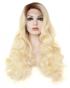 Kalyss Long Curly Brown Roots Gradient Blonde Synthetic Lace Front Wig 60cm