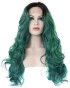 Kalyss Long Curly Black Roots 2 Tones Gradient Black to Dark Green Ombre Synthetic Lace Front Wig 60cm