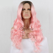 Ombre Pink Loose Wave Synthetic Lace Front Wig Short Dark Brown Roots Heat Resistant Women Wigs 60cm