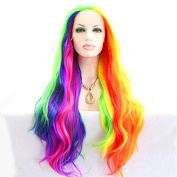 Long piano colour body wave synthetic lace front wig for women colourful heat resistant fibre drag queen wig 60cm