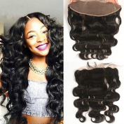 Obzer USA 7A Brazilian Virgin Hair 340cm and 340cm Free Part Way Front Frontal Lace Closure Human Hair Extensions Body Wave Weave Remy Hair