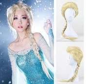 Aimeio Cosplay Wig Ponytail Hair For Adult Kids Elsa White Gold Blonde Hair Wig Synthetic Wigs