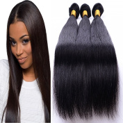 Brazilian Hair 3 Bundles Straight with Lace Front Free Part Closure, Black Hair Colour, Mixed Length
