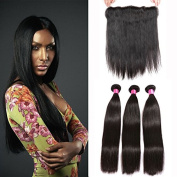 Peruvian Real Remy Virgin Human Hair Weft 3 Bundles 10 12 14 300g Unprocessed Straight Hair With 134 Lace Frontal