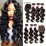 Jolia Hair Brazilian Hair 3 Bundles with Closure, 7A Grade Virgin Brazilian Body Wave Full Head 3 Pack, 1 Piece Free Part 44 Lace Closure