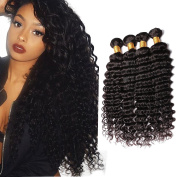 8a Remy Virgin Peruvian Deep Wave Human Hair Extensions 3 Bundles Unprocessed Hair 50cm 60cm 60cm 300g Natural Black