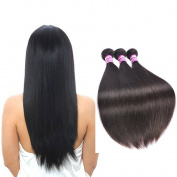 Peruvian Unprocessed Virgin Hair Silky Straight Hair 3 Bundles Real Human Hair Mixed Length 46cm 50cm 60cm 300g Natural Black