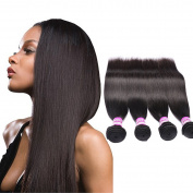 Straight Human Hair Extensions Peruvian Virgin Unprocessed Hair Grade 8a 4 Bundles 25cm 30cm 36cm 41cm 400g Natural Black