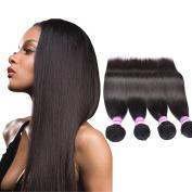 Straight Human Hair Extensions Peruvian Virgin Unprocessed Hair Grade 8a 4 Bundles 25cm 30cm 36cm 41cm 400g Natural Black