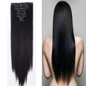 Extra Thick 180g Double Weft Clip in Hair Extensions Synthetic Full Head Hairpieces Straight Long Soft Silky 8pcs 18clips for Women Girls Lady 60cm / 60cm ,