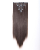 New Arrival Double Weft Thick 8 Pieces Full Head Straight Clip In Hair Extensions - 60cm Dark Brown