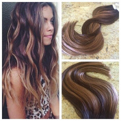 Moresoo 50cm 20pcs/50g Colourful Two Tone Hair Chocolate Brown Highlighted with Caramel Blonde Seamless Tape In Human Hair Extensions