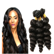 8~70cm 7A Brazilian Loose Wave, Pack of 3(Mixed Length), 100% Unprocessed Virgin Human Hair, 300g Total(100g Each), Natural Colour (16 18 20)