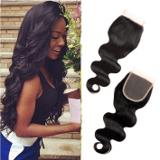 Queen Plus Hair 7a Brazilian Virgin Human Hair Body Weave ,Package of 3 Hair Bundles with (4×4) Free Part Top Lace Closure, Natural Colour Weft