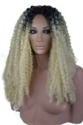 Curly Blonde and Black Two Tone Lace Front Wig