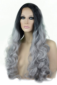 Grey with Black Roots Curly Lace Front Wig