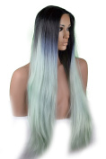 Long black and light green ombre wig with centre part