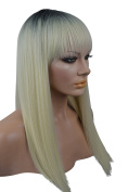 Long Blonde and Black Ombre Wig with Bangs