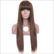 Brazilian Virgin Human Hair Silky Straight Glueless Full Lace Wig For Black Women Long Human Hair Lace Front Wig with Bangs 180 Density