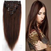 Women FIRSTLIKE 130g 41cm Medium Brown 100% Clip In Remy Human Hair Extensions Unprocessed Thick Double Weft Full Head Soft Straight 8 Pieces 18 Clips