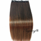Riyang Women Hair Extensions One Piece with 5 Clips in Long Straight Hair Synthetic Ombre Brown