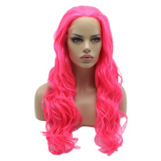 Lushy Cheap Long Natural Wavy Rose Red Colour Wigs Half Hand Tied Heat Friendly Synthetic Hair Lace Front Women . Wigs