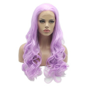 Lushy .  Cheap Long Natural Wavy Light Purole Colour Wigs Half Hand Tied Heat Friendly Synthetic Hair Lace Front Women Wigs