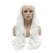 Lushy Cheap Wavy Long White Colour Wigs Half Hand Tied Heat Friendly Full Density Synthetic Hair Lace Front Women Cosplay Wigs