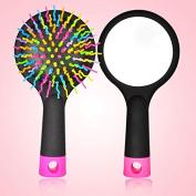 Dreamy Rainbow S Curl Air Volume Brush Abundant hair Detangling Comb Black including Mirror in back from Korea