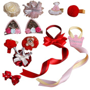 10pc Uniquely Hair clips for Toddlers Baby girls Mixed Design Baby Girl Toddler Hair Clips with 2Pcs Hair Bow Holder-Style 3
