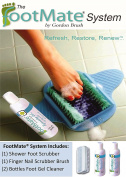 Shower Foot Scrubber - Shower Foot Scrubber (w) 2 Bottles of Foot Gel Cleaner & Nail Brush Kit - Blue FootMate®