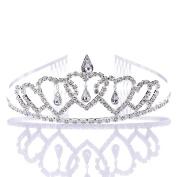 Remedios Flower Girl Heart Shape Rhinestone Wedding Headband Tiara Kid Girl Party Crystal Princess Headpieces