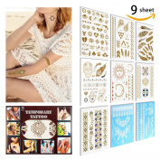 Temporary Tattoo ( 9 SHEET) 5 Sheet Metallic Gold +2 Sheet Elegant Series White Lace+2 Change the Colour in The Sun, Non-Toxic, Eco-Friendly, Easy To Apply and Long Lasting