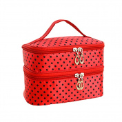 FUNOC® Womens Toiletry Bag Dot Pattern Double Layer Makeup Bag