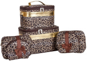 J Garden Gold Brown Leopard Cosmetic Cases - Six Piece Set